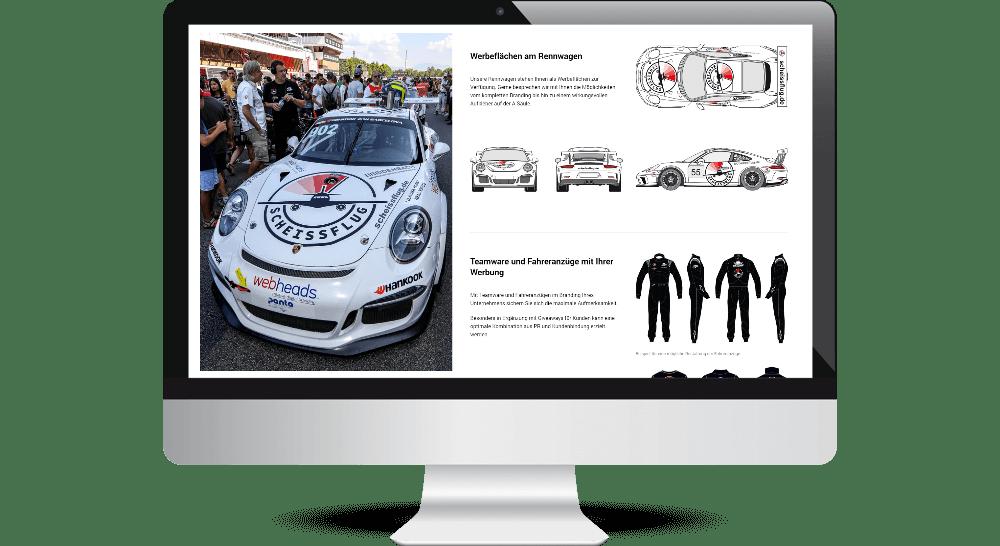 Vertikal geteiltes Webdesign-Layout im Desktop-Bereich