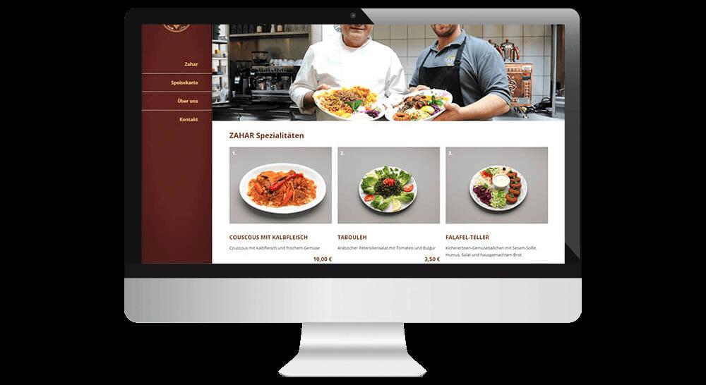 Online-Speisekarte mit Bildern der Speisen