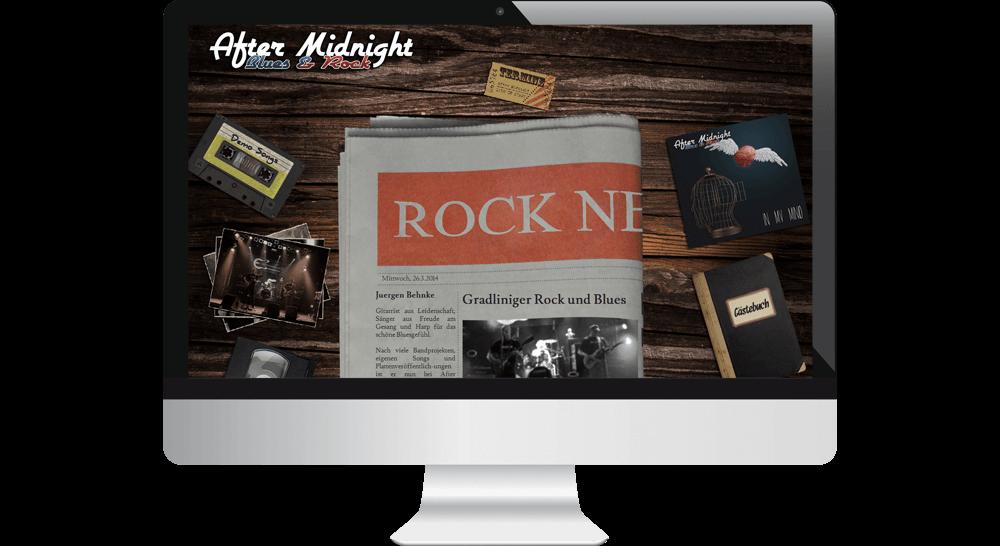 Homepage mit Band-Vorstellung in Zeitungs-Optik