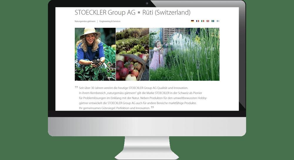 Website der STOECKLER Group AG Schweiz - mehrsprachig