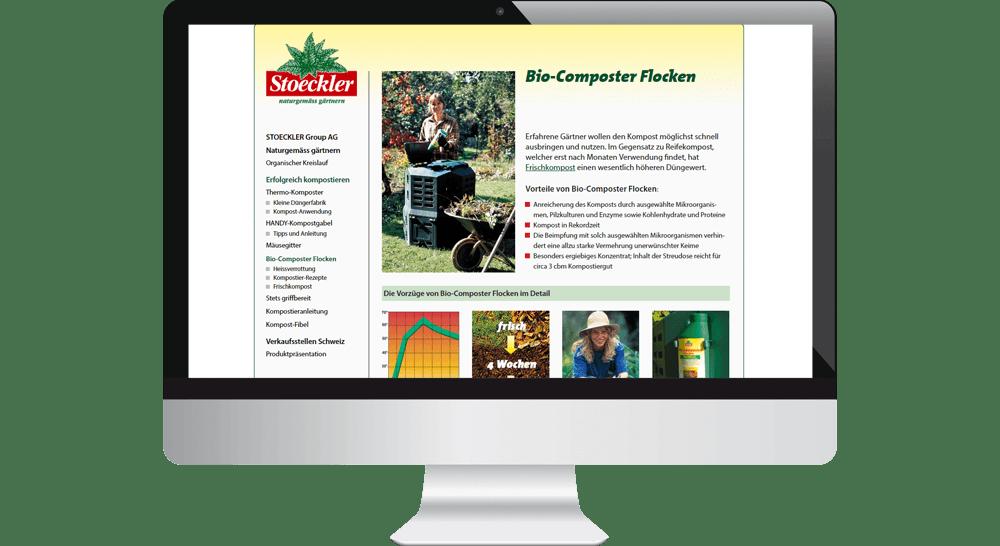 Das Webdesign unterstützt die anschauliche Produkt-Präsentation mit Bildern und Illustrationen