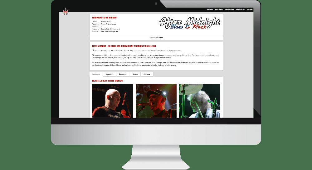 Webdesign-Darstellung eines Band-Profils - Desktop-Screen