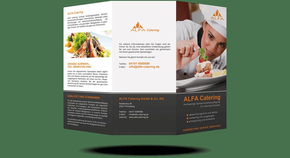 Außenseite mit Deckblatt - Broschüre für Catering-Dienstleister