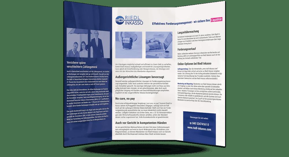 Innenseite des Faltblattes - mit branchenspezifischer Ansprache und allgemeiner Leistungsbeschreibung des Inkasso-Büros
