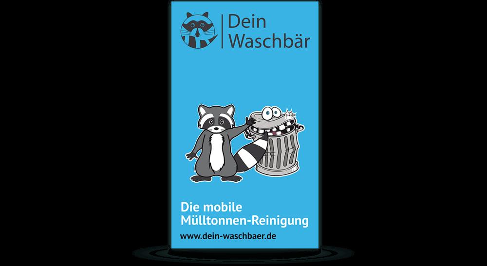 Werbeschild aus Aluverbundplatte für Mülltonnenreinigungs-Firma