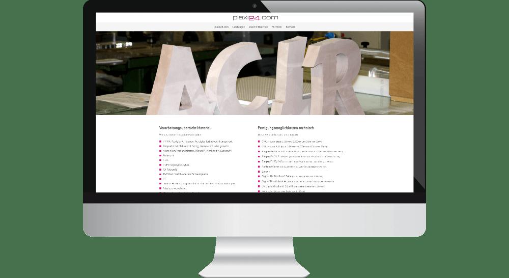 Werbetechniker-Website auf PC-Bildschirm