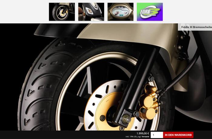 Design der Produktansicht mit Detailbildern